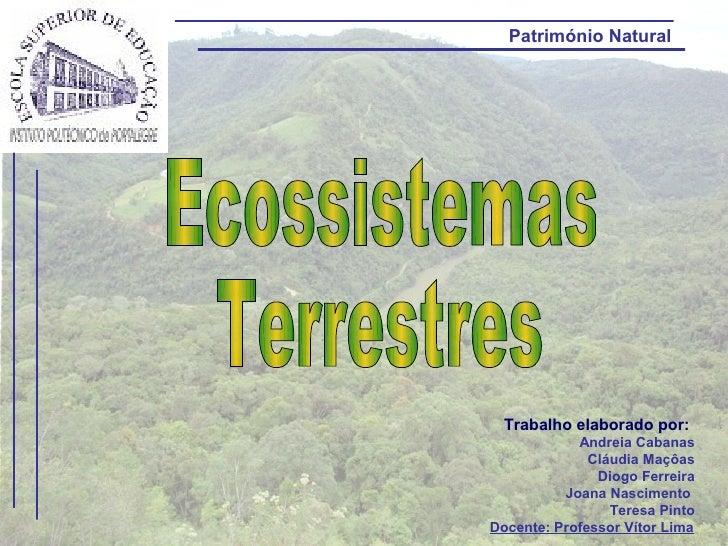 Património Natural  Trabalho elaborado por:            Andreia Cabanas              Cláudia Maçôas               Diogo Fer...