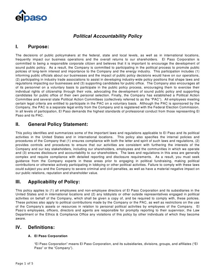 Political Accountability Policy  I.      Purpose: The decisions of public policymakers at the federal, state and local lev...