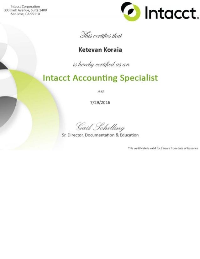 Kate Koraia Intacct Certificate