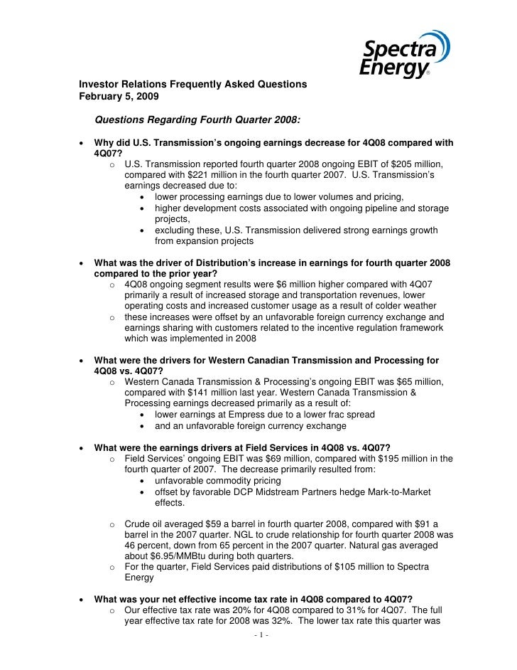 Investor Relations Frequently Asked Questions February 5, 2009      Questions Regarding Fourth Quarter 2008:  •   Why did ...