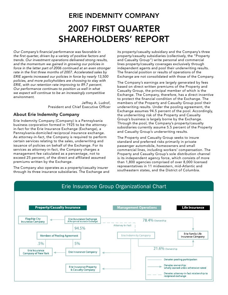 ERIE INDEMNITY COMPANY                                2007 FIRST QUARTER                             SHAREHOLDERS' REPORT ...