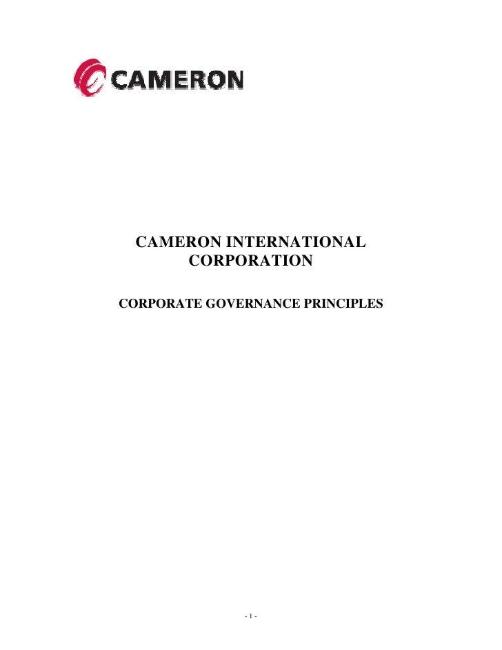 CAMERON INTERNATIONAL      CORPORATION  CORPORATE GOVERNANCE PRINCIPLES                   -1-