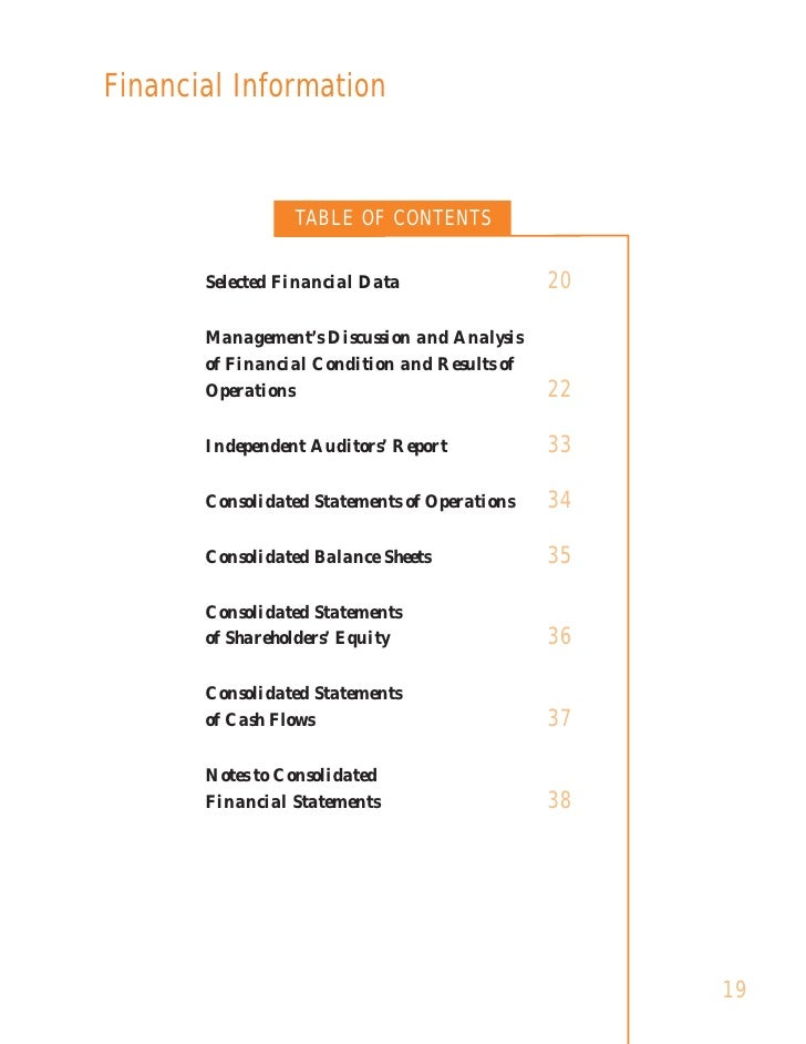 Financial Information                    TABLE OF CONTENTS                                                 20        Selec...