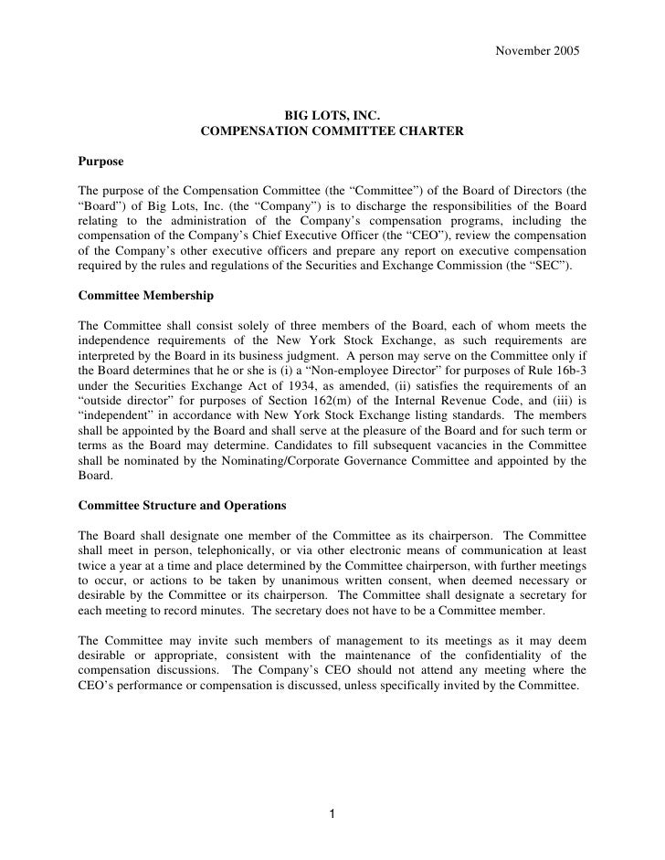 November 2005                                    BIG LOTS, INC.                        COMPENSATION COMMITTEE CHARTER  Pur...