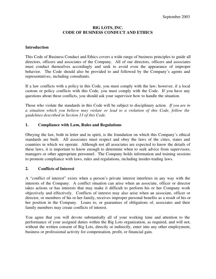 September 2003                                    BIG LOTS, INC.                       CODE OF BUSINESS CONDUCT AND ETHICS...