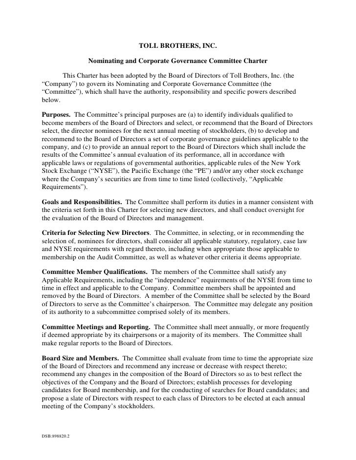 TOLL BROTHERS, INC.                   Nominating and Corporate Governance Committee Charter         This Charter has been ...