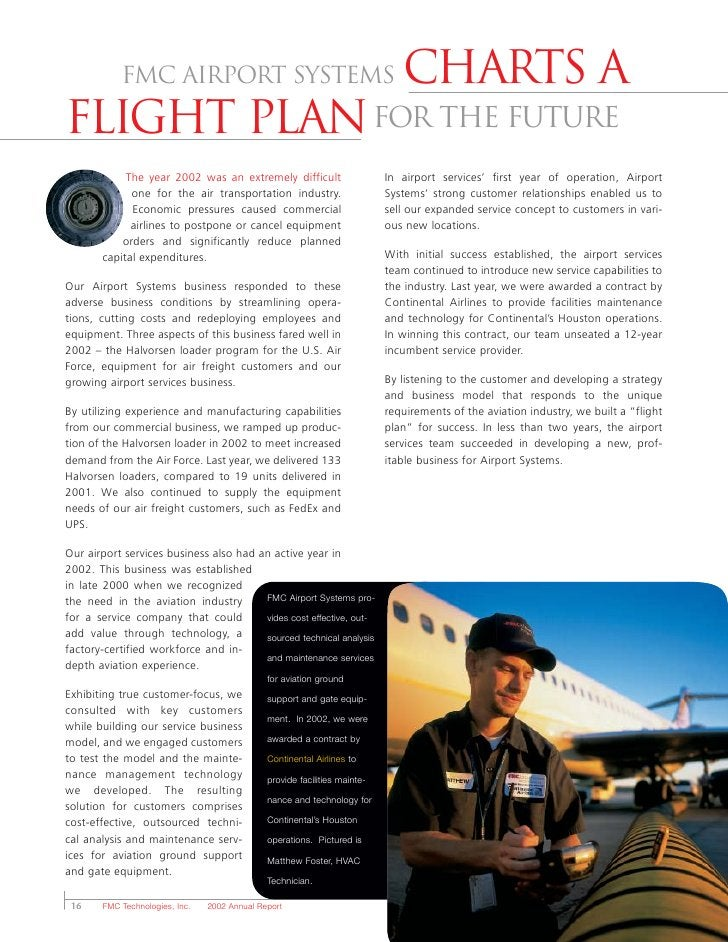 FMC Airport Systems                                                Charts a flight plan for the future             The yea...