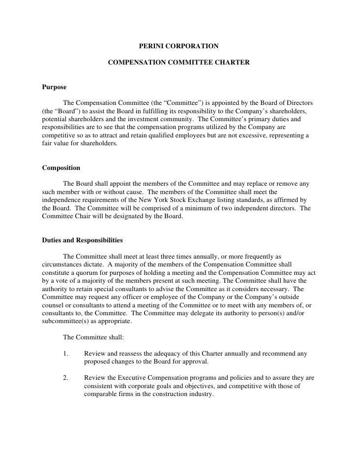 PERINI CORPORATION                         COMPENSATION COMMITTEE CHARTER   Purpose          The Compensation Committee (t...