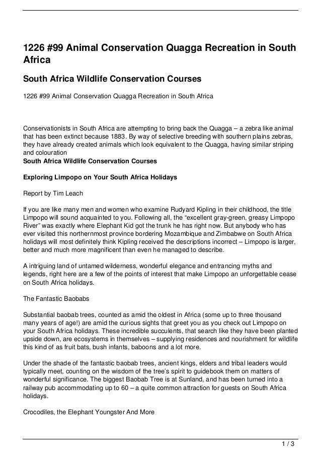 1226 #99 Animal Conservation Quagga Recreation in SouthAfricaSouth Africa Wildlife Conservation Courses1226 #99 Animal Con...