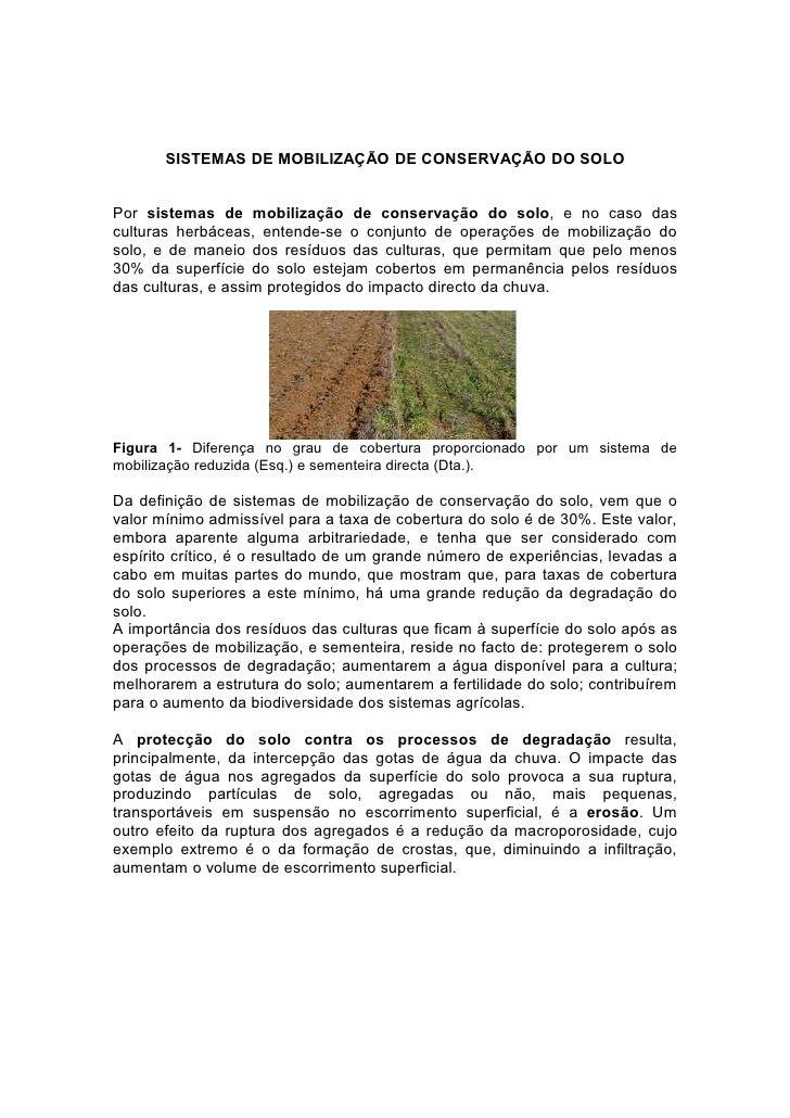 SISTEMAS DE MOBILIZAÇÃO DE CONSERVAÇÃO DO SOLOPor sistemas de mobilização de conservação do solo, e no caso dasculturas he...