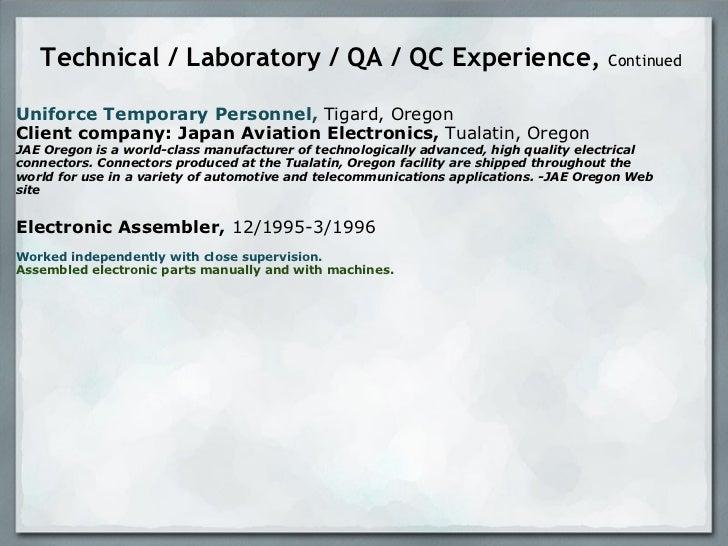 resume presentation technician analyst environmental labo