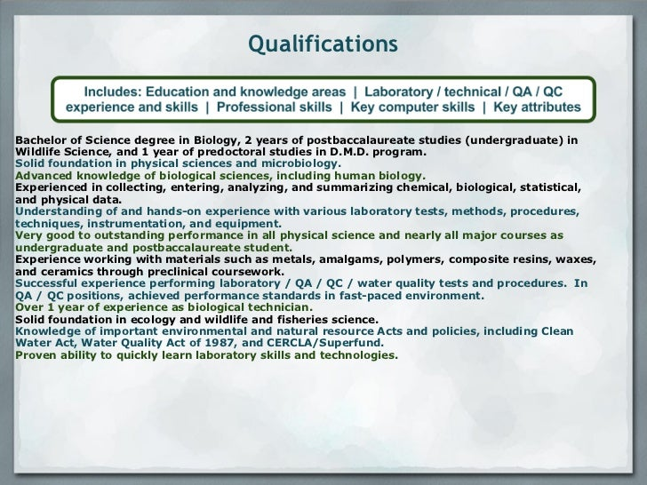 technical experience 4 qualifications bachelor of science - Science Resume Lab Skills