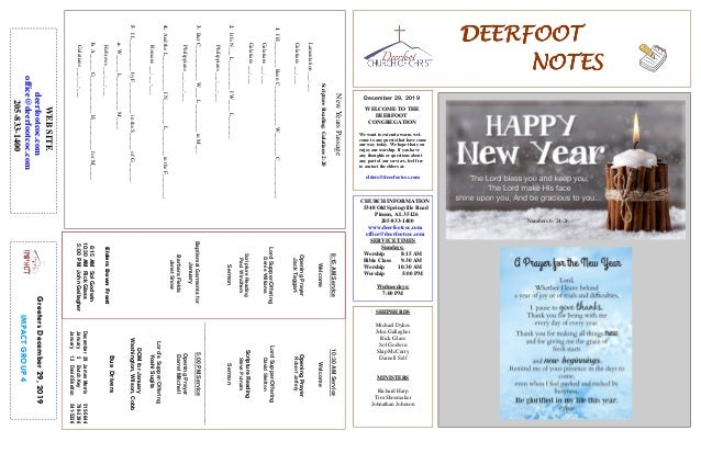 DEERFOOTDEERFOOTDEERFOOTDEERFOOT NOTESNOTESNOTESNOTES December 29, 2019 GreetersDecember29,2019 IMPACTGROUP4 WELCOME TO TH...