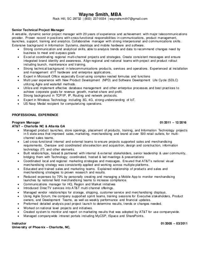 wayne smith senior technical project manager resume