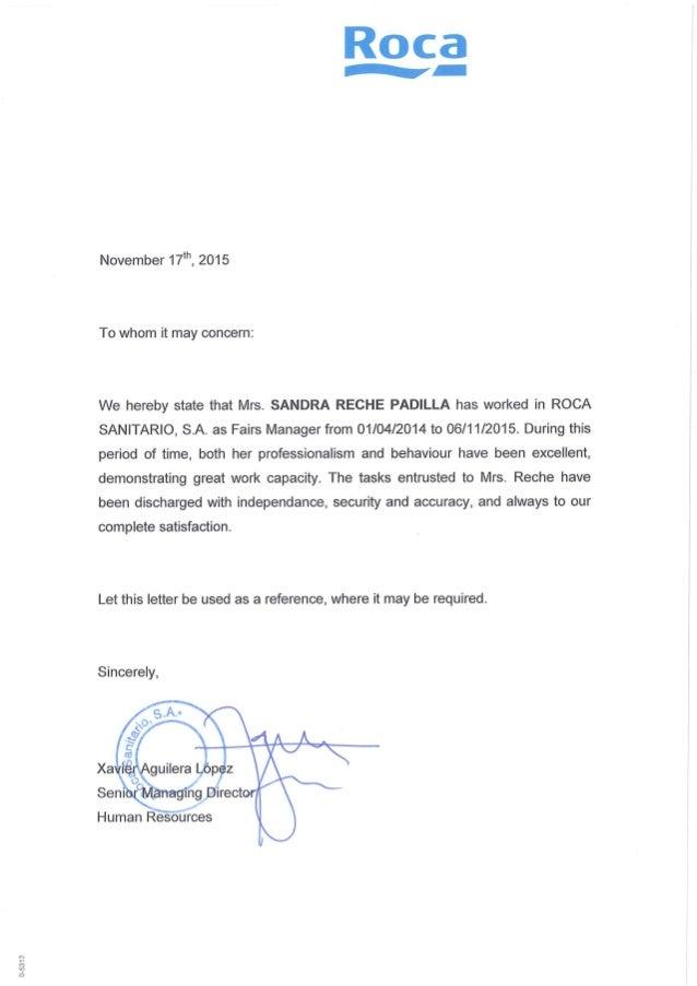 Carta recomendaci n en ingl s roca for Roca en ingles