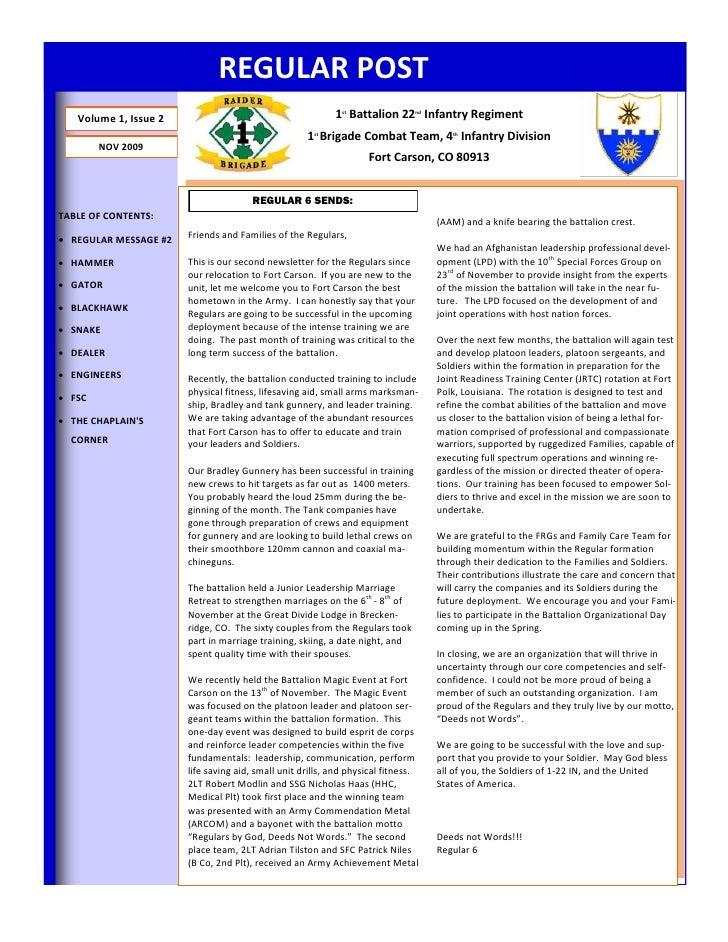 REGULAR POST    Volume 1, Issue 2                                       1st Battalion 22nd Infantry Regiment              ...