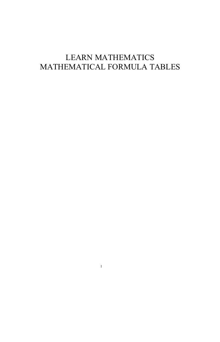 LEARN MATHEMATICSMATHEMATICAL FORMULA TABLES           1