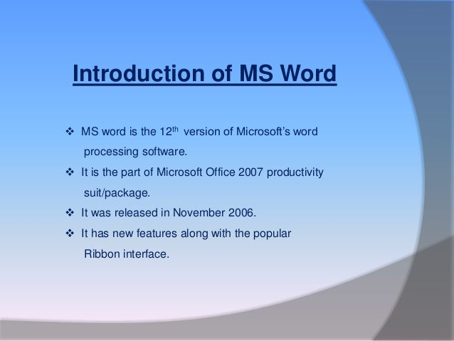 Introduction of MS Word 2007