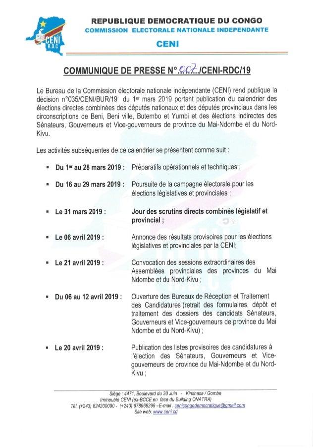 Calendrier Electoral 2019.Calendrier Electoral Beni Butembo Et Yumbi