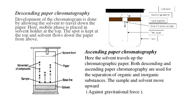 Ascending paper chromatography Here the solvent travels up the chromatographic paper. Both descending and ascending paper ...