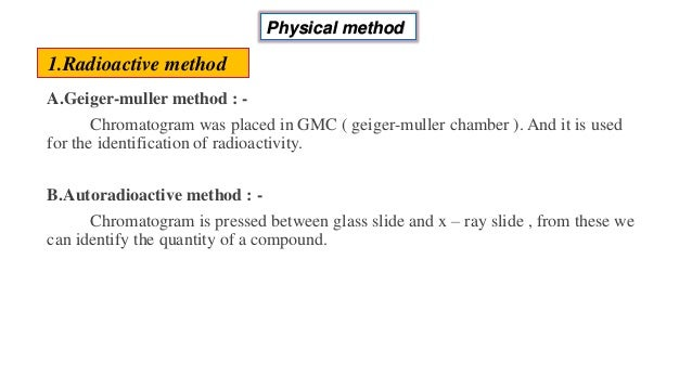 A.Geiger-muller method : - Chromatogram was placed in GMC ( geiger-muller chamber ). And it is used for the identification...