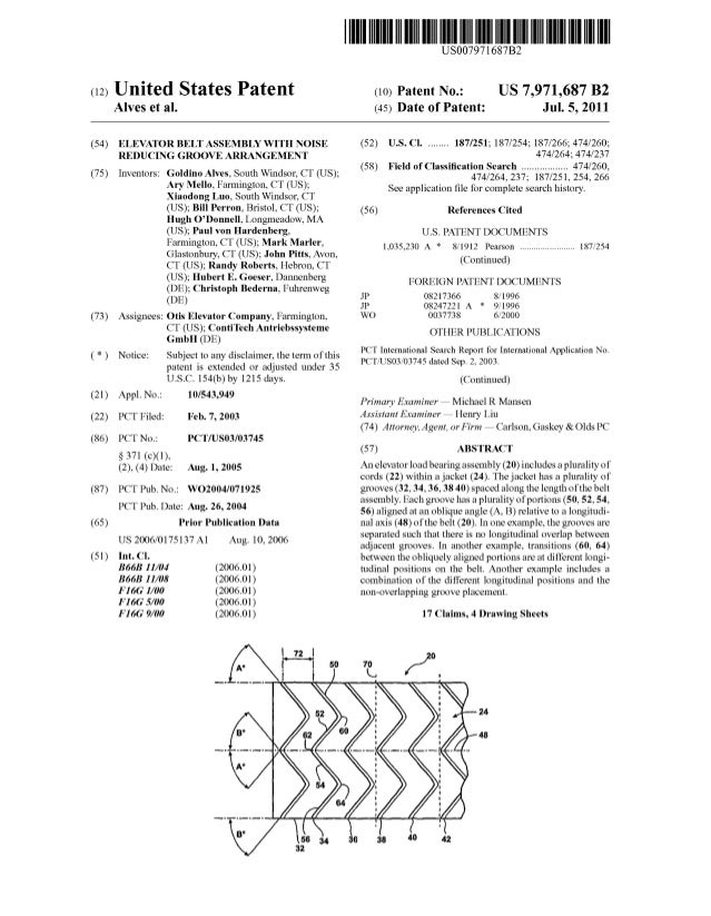 c12) United States Patent Alves et al. (54) ELEVATOR BELT ASSEMBLY WITH NOISE REDUCING GROOVE ARRANGEMENT (75) (73) Invent...