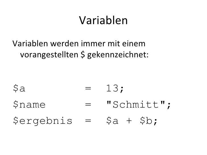 PHP: Variablen und Datentypen Slide 3
