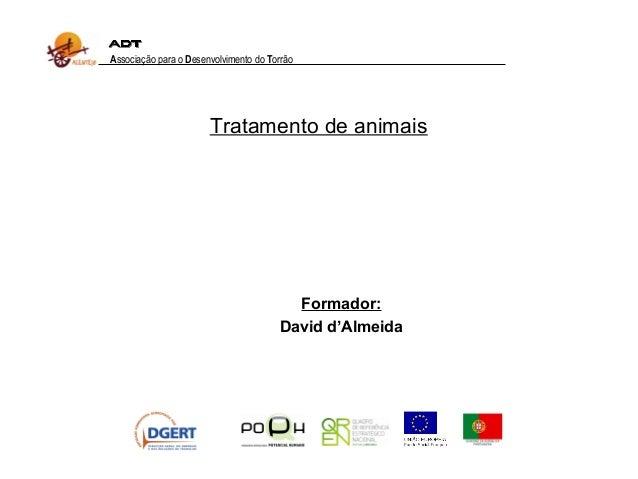 Formador: David d'Almeida Associação para o Desenvolvimento do Torrão Tratamento de animais