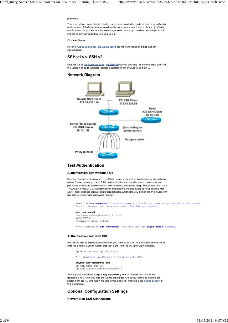 Configuring Secure Shell on Routers and Switches Running Cisco IOS - …