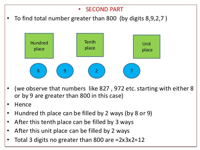 • SECOND PART • To find total number greater than 800 (by digits 8,9,2,7 ) • (we observe that numbers like 827 , 972 etc. ...
