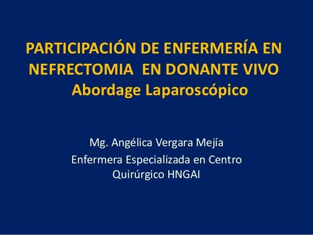 PARTICIPACIÓN DE ENFERMERÍA ENNEFRECTOMIA EN DONANTE VIVO     Abordage Laparoscópico        Mg. Angélica Vergara Mejía    ...