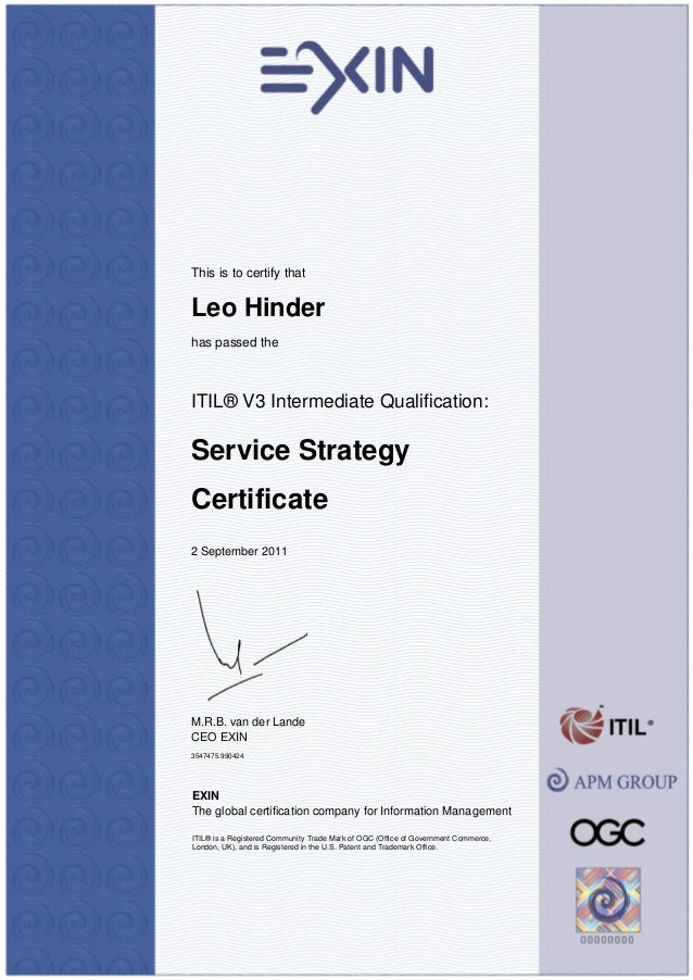Certificate Itv3ss Itil V3 Service Strategy