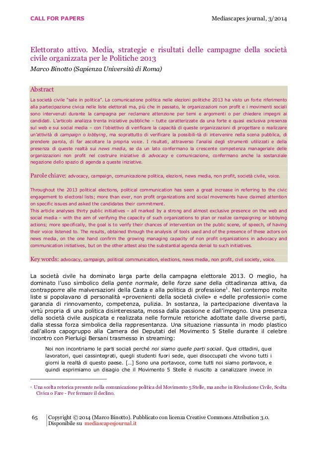 CALL FOR PAPERS Mediascapes journal, 3/2014 65 Copyright © 2014 (Marco Binotto). Pubblicato con licenza Creative Commons A...