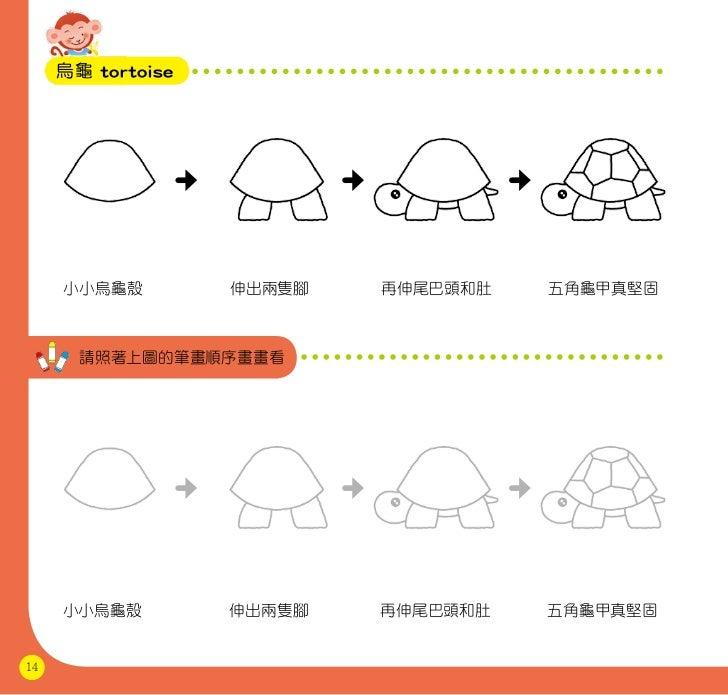 烏龜 tortoise     小小烏龜殼         伸出兩隻腳   再伸尾巴頭和肚   五角龜甲真堅固       請照著上圖的筆畫順序畫畫看     小小烏龜殼         伸出兩隻腳   再伸尾巴頭和肚   五角龜甲真堅固14