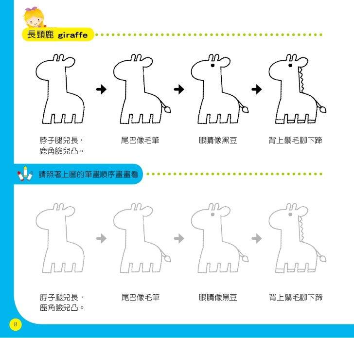 長頸鹿 giraffe      脖子腿兒長,      尾巴像毛筆   眼睛像黑豆   背上鬃毛腳下蹄      鹿角臉兒凸。      請照著上圖的筆畫順序畫畫看      脖子腿兒長,      尾巴像毛筆   眼睛像黑豆   背上鬃毛腳...