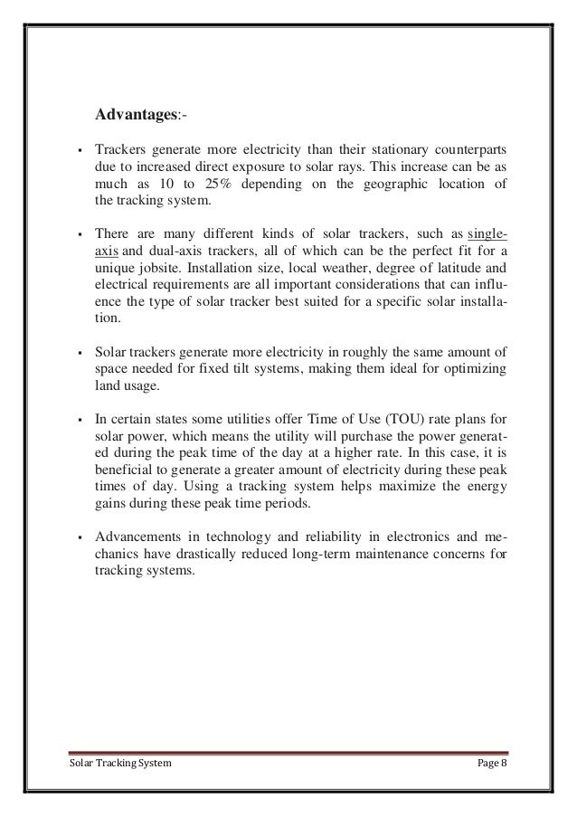 Report On Solar Tracking System
