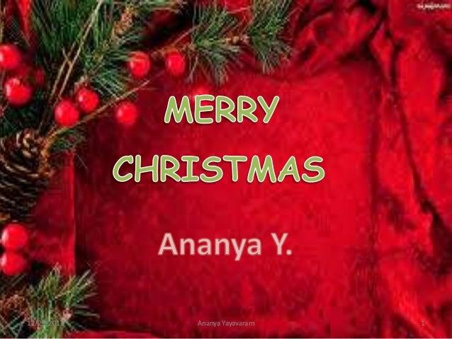 12/29/2013  Ananya Yayavaram  1