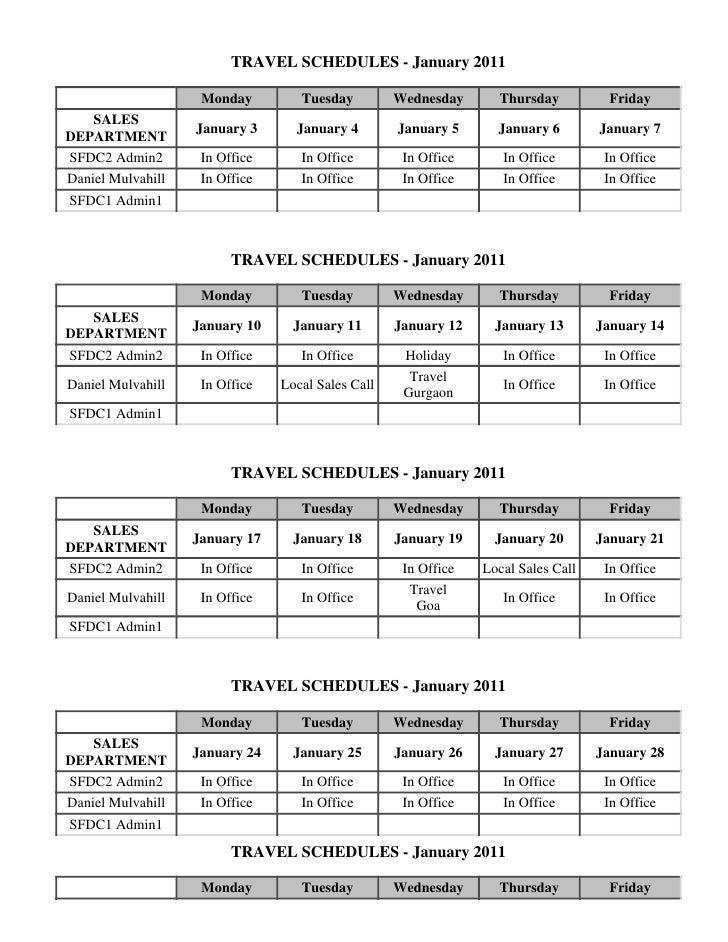 TRAVEL SCHEDULES - January 2011                    Monday         Tuesday         Wednesday      Thursday          Friday ...