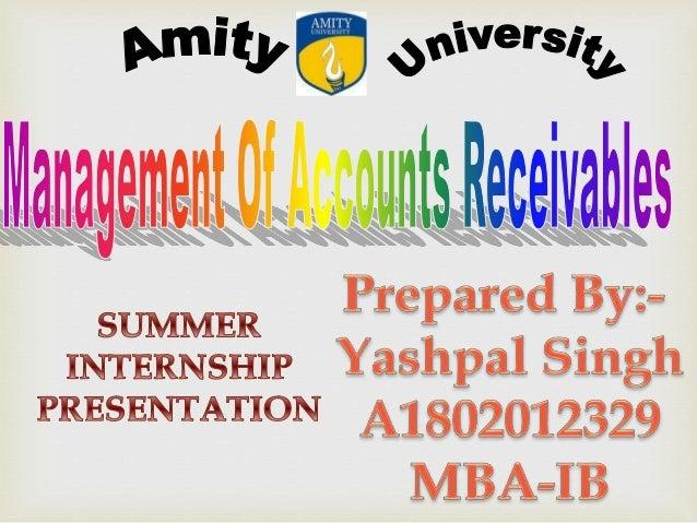 MANAGEMENT OF ACCOUNTS RECEIVABLES