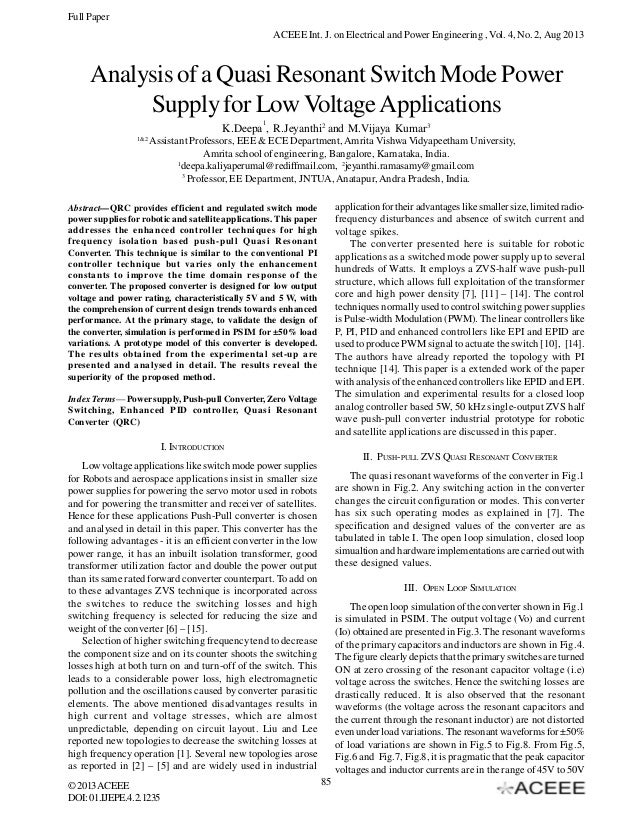 Full Paper ACEEE Int. J. on Electrical and Power Engineering , Vol. 4, No. 2, Aug 2013  Analysis of a Quasi Resonant Switc...