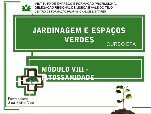 JARDINAGEM E ESPAÇOS VERDES CURSO EFA MÓDULO VIII - FITOSSANIDADE
