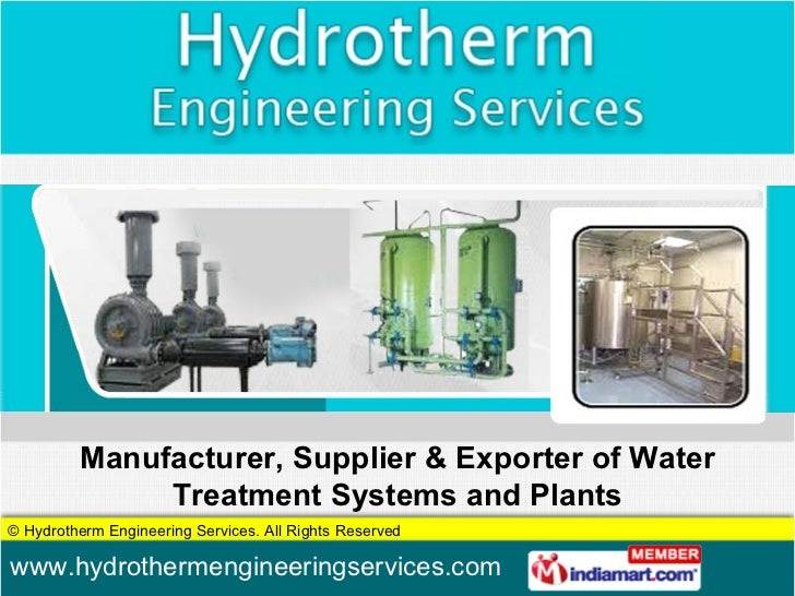 Manufacturer, Supplier & Exporter of Water Treatment Systems and Plants
