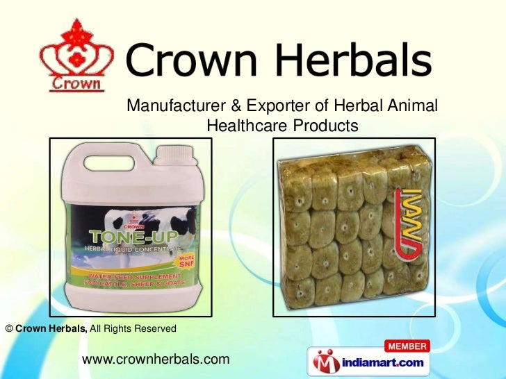Manufacturer & Exporter of Herbal Animal                                  Healthcare Products© Crown Herbals, All Rights R...