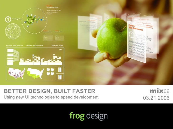 BETTER DESIGN, BUILT FASTER Using new UI technologies to speed development mix 06 03.21.2006