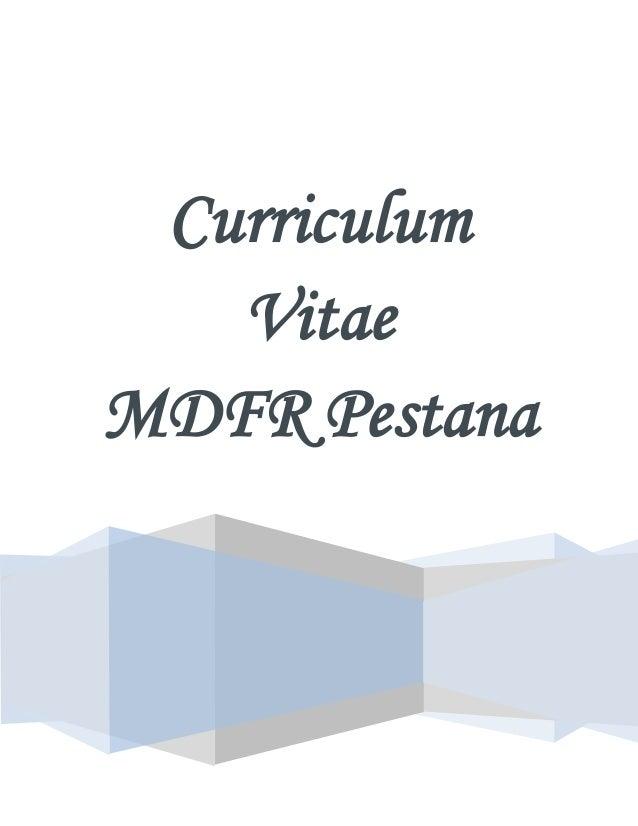 Curriculum Vitae Of Maria De Fatima Rais Pestana