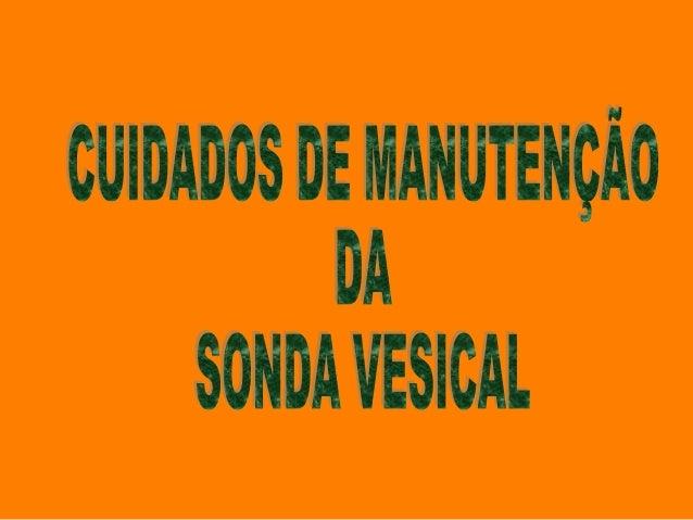 CUIDADOS DE MANUTENÇÃO DA SONDA VESICAL  Os cuidados ao utente com sonda vesical são dirigidos, na sua maior parte, à prev...