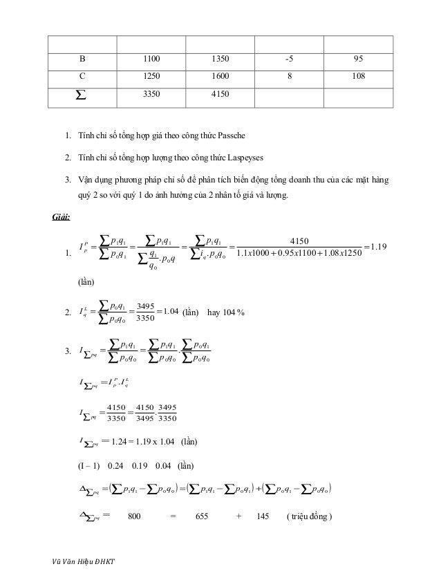 B 1100 1350 -5 95 C 1250 1600 8 108 ∑ 3350 4150 1. Tính chỉ số tổng hợp giá theo công thức Passche 2. Tính chỉ số tổng hợp...