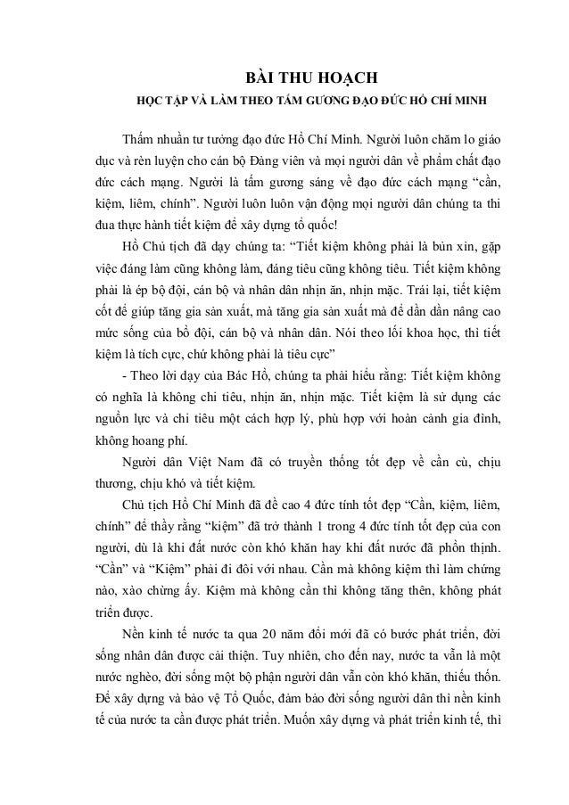 BÀI THU HOẠCH HỌC TẬP VÀ LÀM THEO TẤM GƯƠNG ĐẠO ĐỨC HỒ CHÍ MINH Thấm nhuần tư tưởng đạo đức Hồ Chí Minh. Người luôn chăm l...