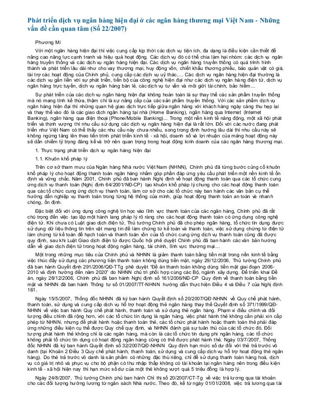Phát triển dịch vụ ngân hàng hiện đại ở các ngân hàng thương mại Việt Nam - Những vấn đề cần quan tâm (Số 22/2007) Phương ...