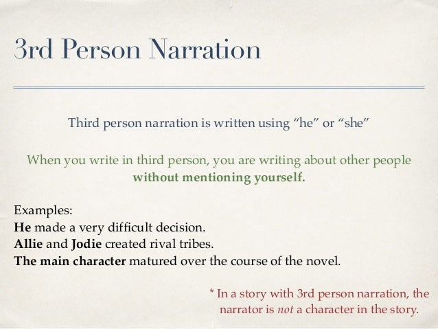 writing in the 3rd person To write in third person, observe the person from an outside viewpoint by using pronouns or names find out how to write in third person with tips from a.